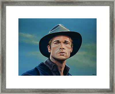 Brad Pitt Painting Framed Print by Paul Meijering
