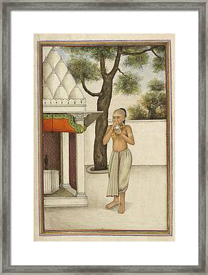 Brahmin Blowing Conch Shell Framed Print by British Library
