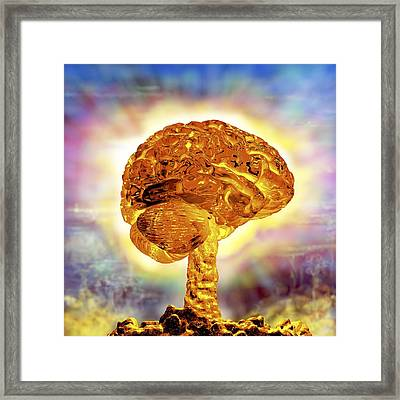 Brain As Atomic Bomb Framed Print by Russell Kightley