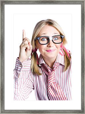 Brainy Business Woman Pointing Up To Great Idea Framed Print by Jorgo Photography - Wall Art Gallery