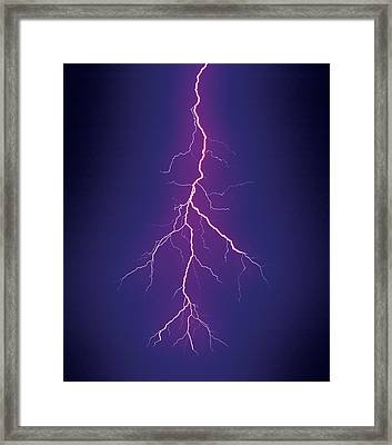 Branched Cloud-to-ground Lightning Framed Print by Thomas Wiewandt