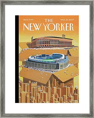 Brand New Yankee's And Met's Stadiums Coming Framed Print by Bruce McCall