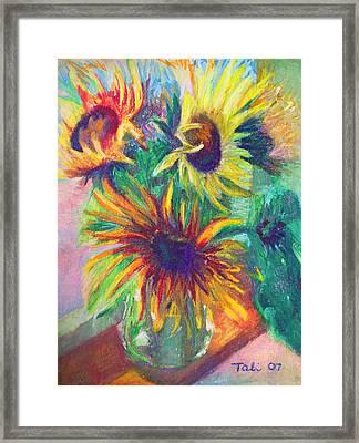 Brandy's Sunflowers - Still Life On Windowsill Framed Print by Talya Johnson
