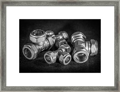 Brass Compression Tees. Framed Print by Gary Gillette