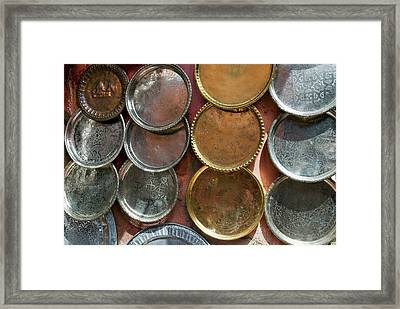 Brass Plates For Sale In The Souk Framed Print by Nico Tondini