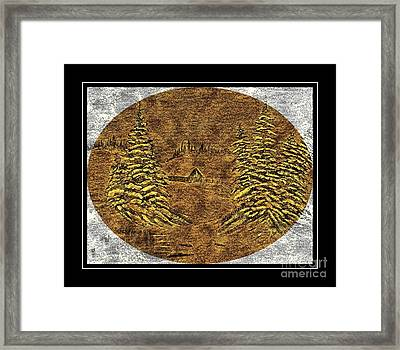 Brass-type Etching - Oval - Cabin Between The Trees Framed Print by Barbara Griffin