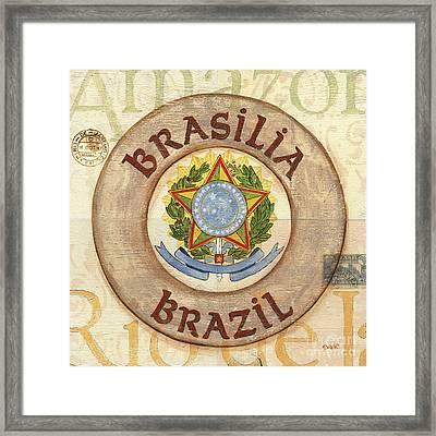 Brazil Coat Of Arms Framed Print by Debbie DeWitt