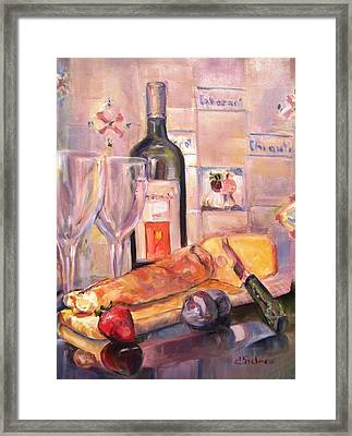 Bread And Wine Framed Print by Dorothy Siclare