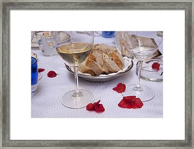 Bread And Wine Italian Restaurant Framed Print by Antique Images