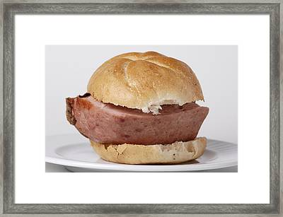 Bread Roll With Thick Slice Leberkaese - German Food Framed Print by Matthias Hauser