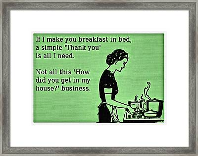 Breakfast In Bed Framed Print by Florian Rodarte