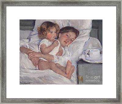 Breakfast In Bed Framed Print by Mary Cassatt
