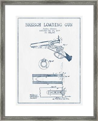 Breech Loading Shotgun Patent Drawing From 1879 -  Blue Ink Framed Print by Aged Pixel