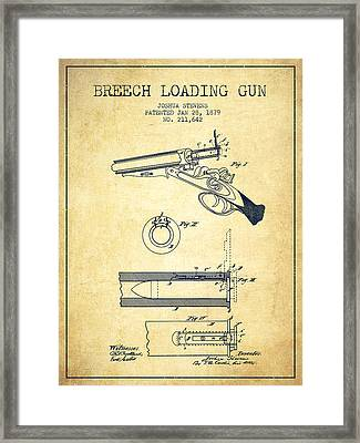 Breech Loading Shotgun Patent Drawing From 1879 - Vintage Framed Print by Aged Pixel