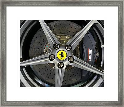 Brembo Carbon Ceramic Brake On A Ferrari F12 Berlinetta Framed Print by Dutourdumonde Photography