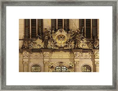 Bremen - Entrance Of The Chambre Of Industry And Commerce At Night Framed Print by Olaf Schulz