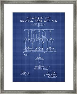 Brewing Beer And Ale Apparatus Patent From 1873 - Blueprint Framed Print by Aged Pixel