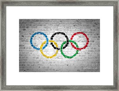 Brick Wall Olympic Movement Framed Print by Antony McAulay