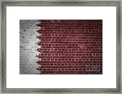 Brick Wall Qatar Framed Print by Antony McAulay