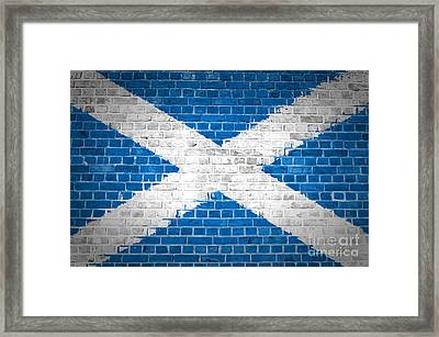 Brick Wall Scotland Saltire Framed Print by Antony McAulay