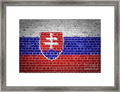 Brick Wall Slovakia Framed Print by Antony McAulay