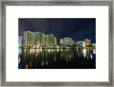 Brickell Key Night Cityscape Framed Print by Andres Leon