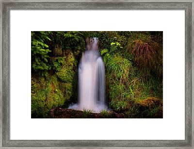 Bridal Dress. Waterfall At Benmore Botanical Garden. Nature Of Scotland Framed Print by Jenny Rainbow