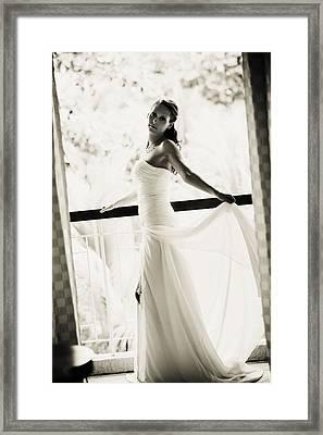 Bride At The Balcony. Black And White Framed Print by Jenny Rainbow