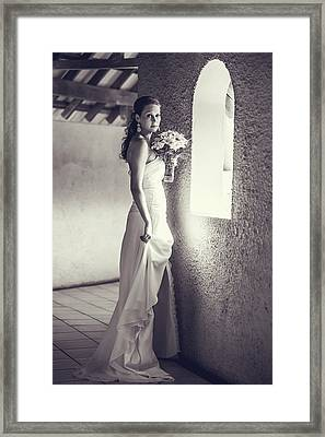 Bride At The Window. Black And White Framed Print by Jenny Rainbow