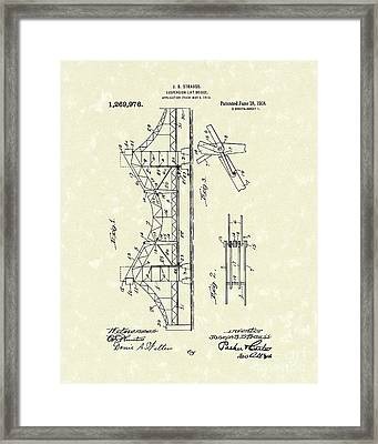Bridge 1918 Patent Art Framed Print by Prior Art Design