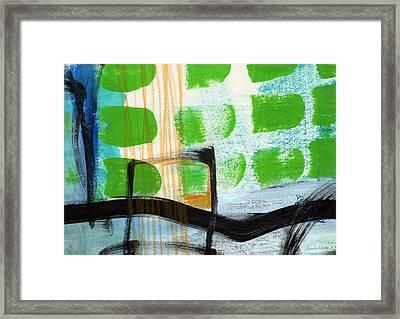 Bridge- Abstract Landscape Framed Print by Linda Woods