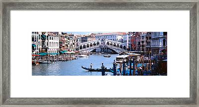 Bridge Across A River, Rialto Bridge Framed Print by Panoramic Images