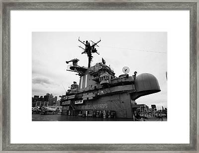 Bridge And Flight Deck Island On The Uss Intrepid At The Intrepid Sea Air Space Museum Framed Print by Joe Fox