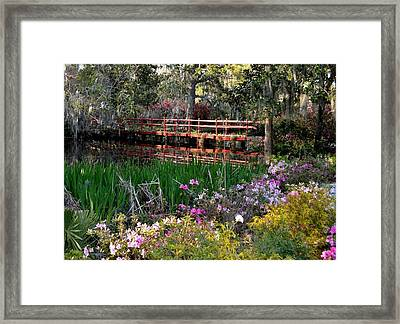 Bridge And Floral Framed Print by Jeff  Bjune