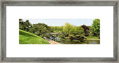 Bridge And Japanese Garden, Chicago Framed Print by Panoramic Images
