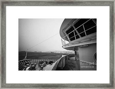 Bridge And Snow Covered Walkway On Board Hurtigruten Ferry Passenger Ship Docked In Hammerfest Durin Framed Print by Joe Fox