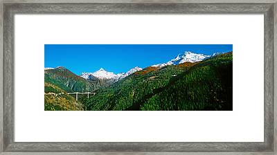 Bridge At Simplon Pass Road In Autumn Framed Print by Panoramic Images