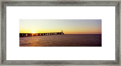Bridge At Sunrise, Sunshine Skyway Framed Print by Panoramic Images