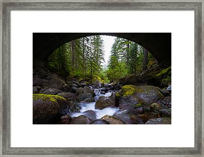Bridge Below Rainier Framed Print by Chad Dutson