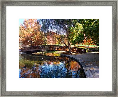 Bridge In Autumn Framed Print by Ellen Tully