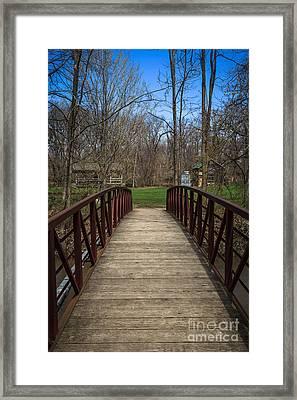Bridge In Deep River County Park Northwest Indiana Framed Print by Paul Velgos