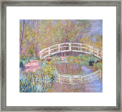 Bridge In Monet's Garden Framed Print by Claude Monet