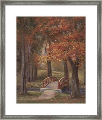 Bridge In The Fall Framed Print by Lucie Bilodeau