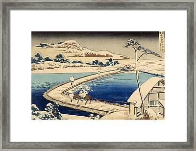 Bridge Of Boats At Sawa Framed Print by Hokusai Katasushika