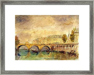 Bridge Over The Seine Paris. Framed Print by Juan  Bosco
