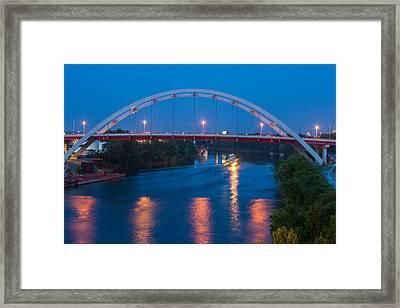 Bridge Reflections Framed Print by Robert Hebert