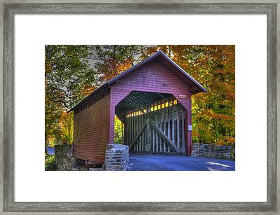 Bridge To The Past Roddy Road Covered Bridge-a1 Autumn Frederick County Maryland Framed Print by Michael Mazaika