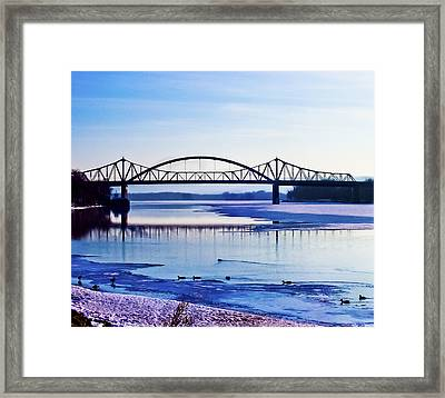Bridges Over The Mississippi Framed Print by Christi Kraft