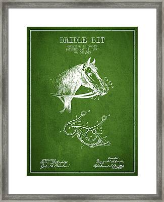 Bridle Bit Patent From 1897 - Green Framed Print by Aged Pixel