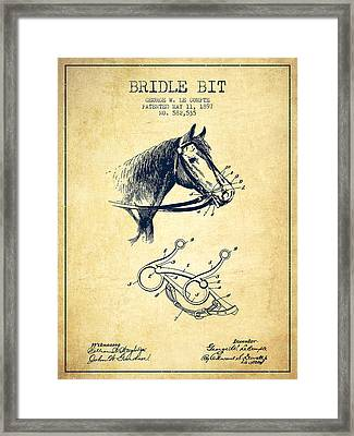 Bridle Bit Patent From 1897 - Vintage Framed Print by Aged Pixel